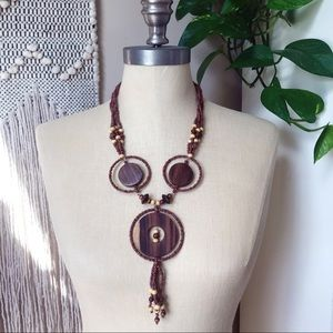 CHICO'S Wooden Beaded Tri-Circle Necklace